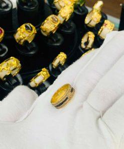 Nhẫn 2 hàng hoa văn luồng 1 sợi lông voi được bảo hành trọn đời tại RIOGEMs