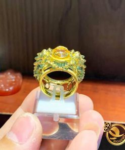 Nhẫn 2 tỳ hưu vàng chầu ngọc Thạch anh vàng gia công tại Riogems