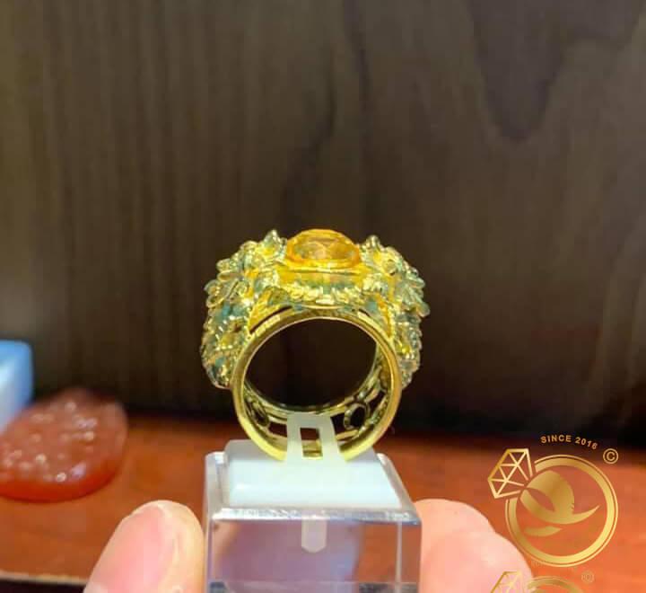 Nhẫn 2 tỳ hưu vàng chầu ngọc Thạch anh vàng phong thủy