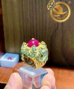 Nhẫn 4 cọp vàng chầu ngọc Ruby sang trọng