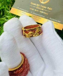 Nhẫn Cẩm Thạch Huyết bọc RỒNG CỌP vàng giá trị