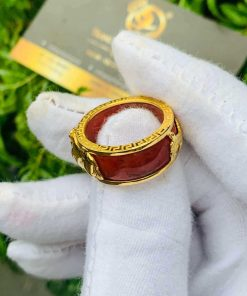 Nhẫn Cẩm Thạch Huyết bọc RỒNG CỌP vàng đem lại may mắn