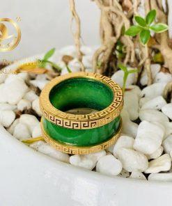 Nhẫn Cẩm Thạch xanh 4 viền hoa văn được ưa chuộng