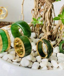 Nhẫn Cẩm Thạch xanh 4 viền hoa văn