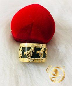 Nhẫn Càn Long Ngọc Bích HOA VĂN chạm khắc 8 ngựa vàng sang trọng
