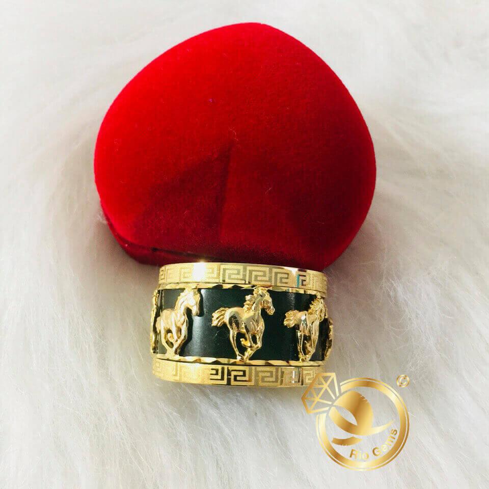 Nhẫn Càn Long Ngọc Bích HOA VĂN chạm khắc 8 ngựa vàng
