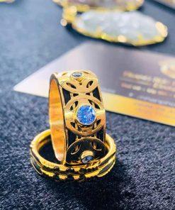 Nhẫn ĐỒNG TIỀN đính đá Cz xanh dương hợp mệnh Thủy - Mộc tại Riogems