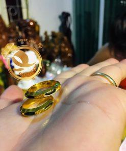 Nhẫn đính hôn vàng 18K bản 6mm luồng 1 lông hợp mệnh