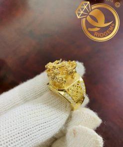 Nhẫn Kỳ Lân 3D vàng nguyên khối giá tốt
