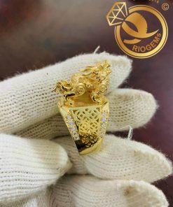 Nhẫn Kỳ Lân 3D vàng nguyên khối chất lượng