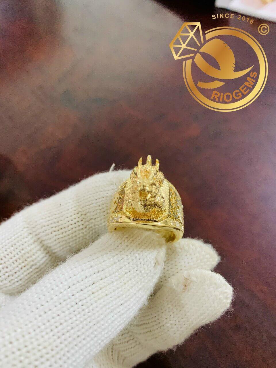 Nhẫn Kỳ Lân 3D vàng nguyên khối do Riogems gia công