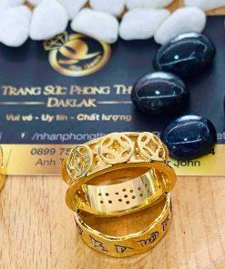 Nhẫn Nam vàng Phúc Lộc Thọ khắc nổi 3d