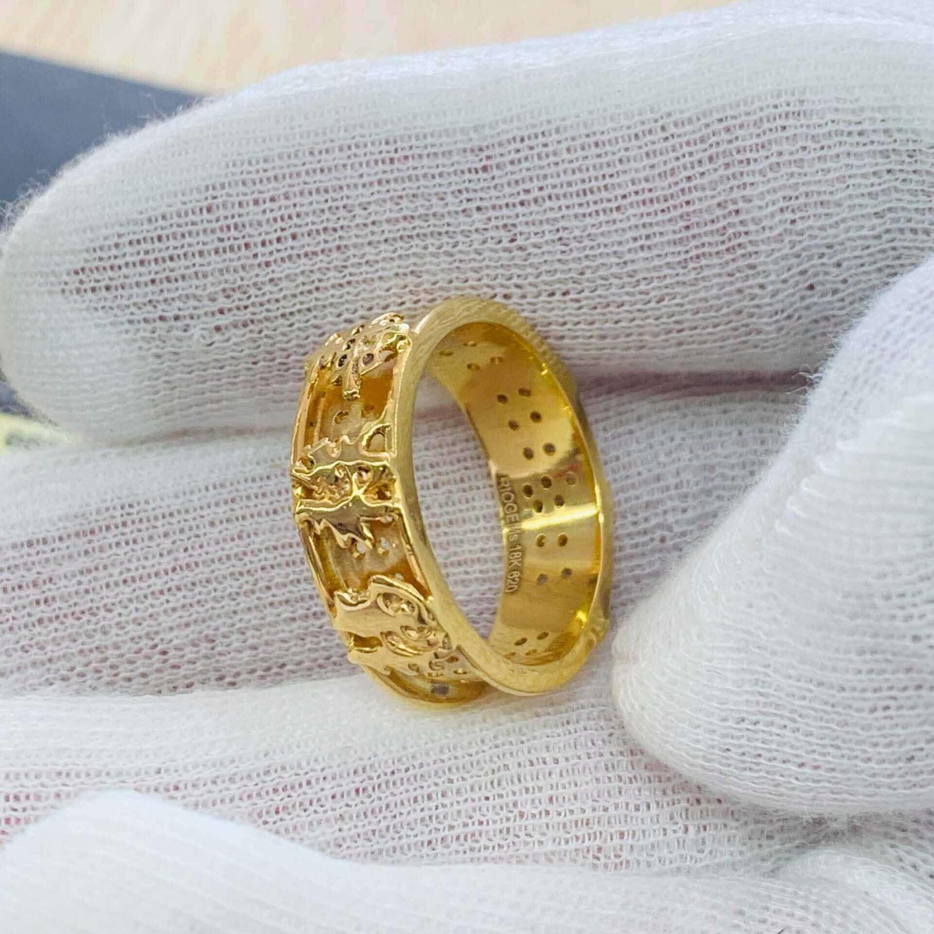 Nhẫn Nam vàng Phúc Lộc Thọ chiêu tài