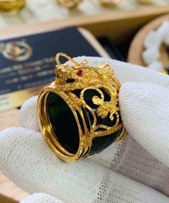 Nhẫn Ngọc Bích ĐẦU RỒNG cánh dơi 2 sợi lông voi được thiết kế bởi Riogems