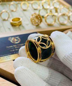 Nhẫn Ngọc Bích ĐẦU RỒNG cánh dơi 2 sợi lông voi mang lại may mắn
