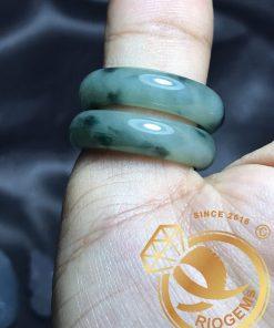 Nhan Ngoc Lam Cam Thach Jadeite size lon - bang bo 6li Riogems
