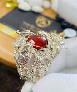 Nhẫn Rồng Phụng Bạch đính đá cho nam mệnh Hỏa - Mộc giá tốt