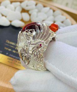 Nhẫn Rồng Phụng Bạch đính đá cho nam mệnh Hỏa - Mộc rước tài lộc