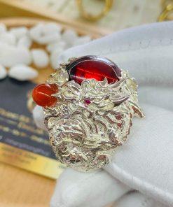 Nhẫn Rồng Phụng Bạch đính đá cho nam mệnh Hỏa - Mộc siêu chất