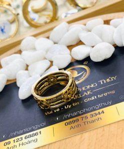Nhẫn Tài Lộc 5 đồng tiền 3 sợi lông voi vàng thật