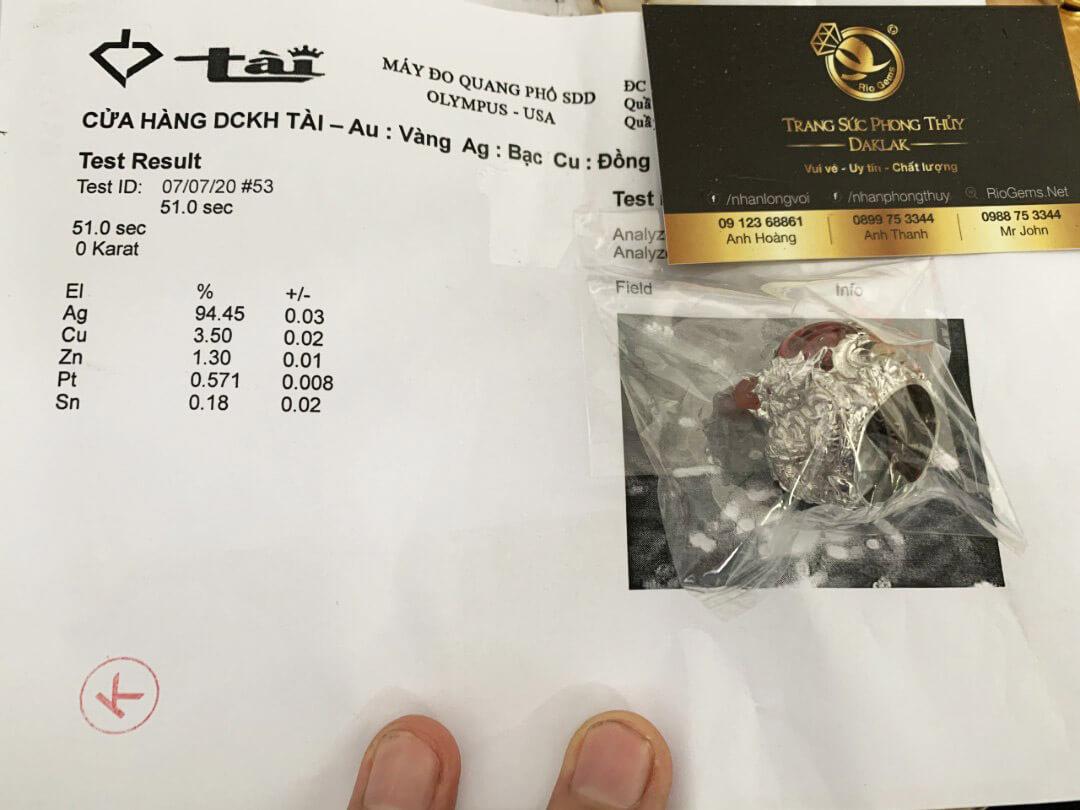 giấy chứng nhận Nhẫn bạc Tứ Linh LONG LÂN QUY PHỤNG giá RẺ