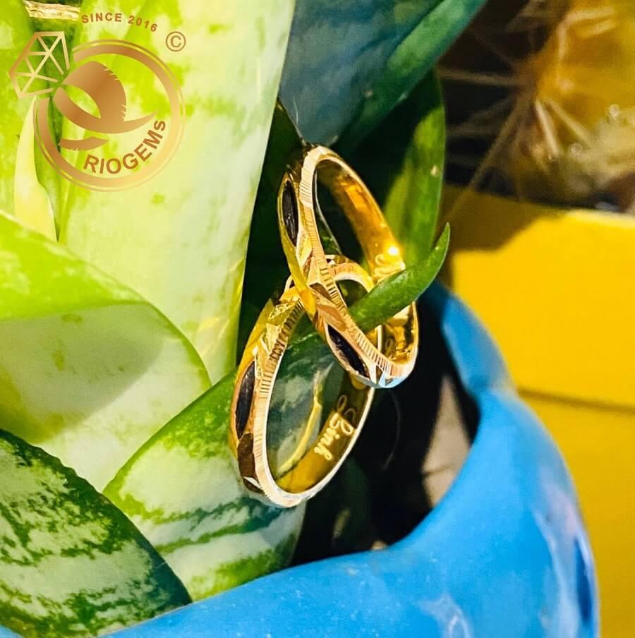 Nhẫn cặp đơn vàng 18K khắc tên MIỄN PHÍ luồng 1 lông FAKE tinh tế