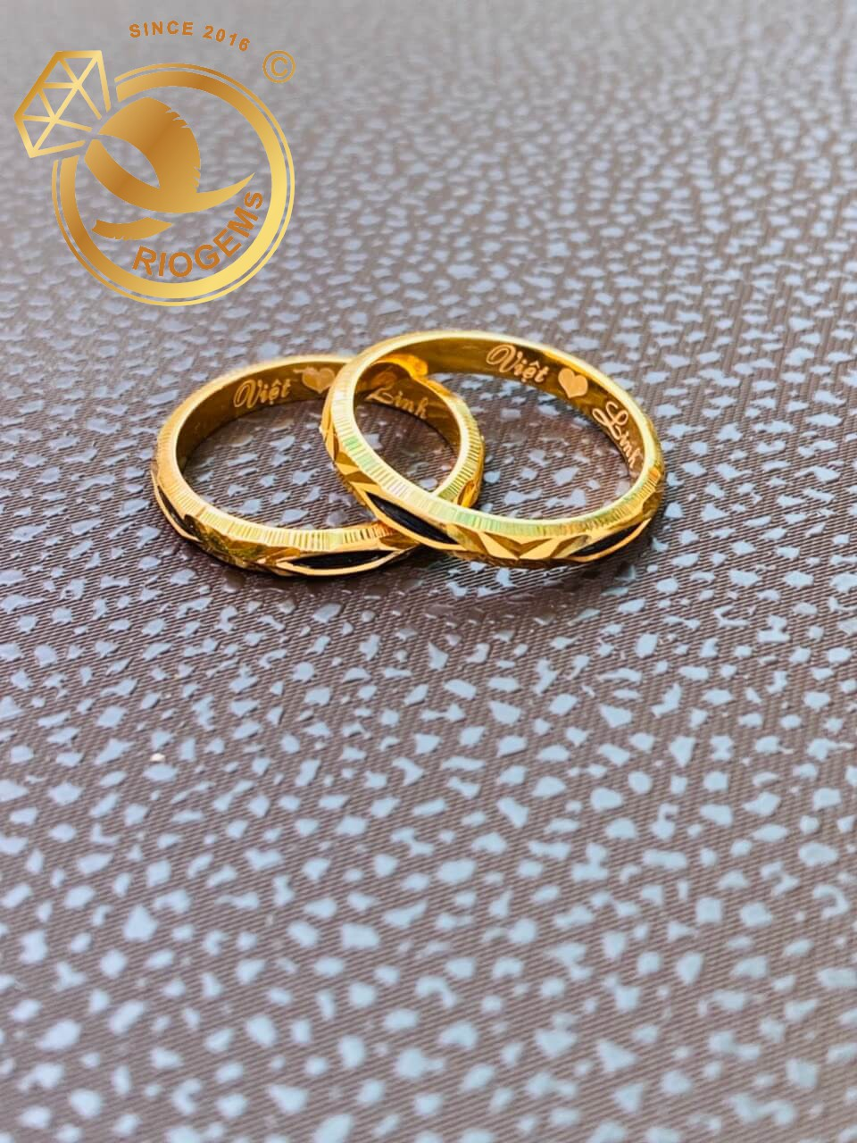 nhẫn cặp lông voi đơn khắc tên hợp phong thủy