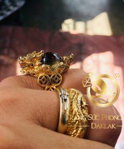 Nhẫn Long Quy Phong Thủy Thạch Anh Tóc Vàng sang trọng