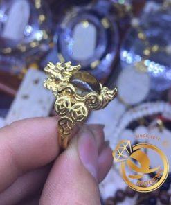 Nhẫn Long Quy Phong Thủy Thạch Anh Tóc Vàng tăng năng lượng tích cực