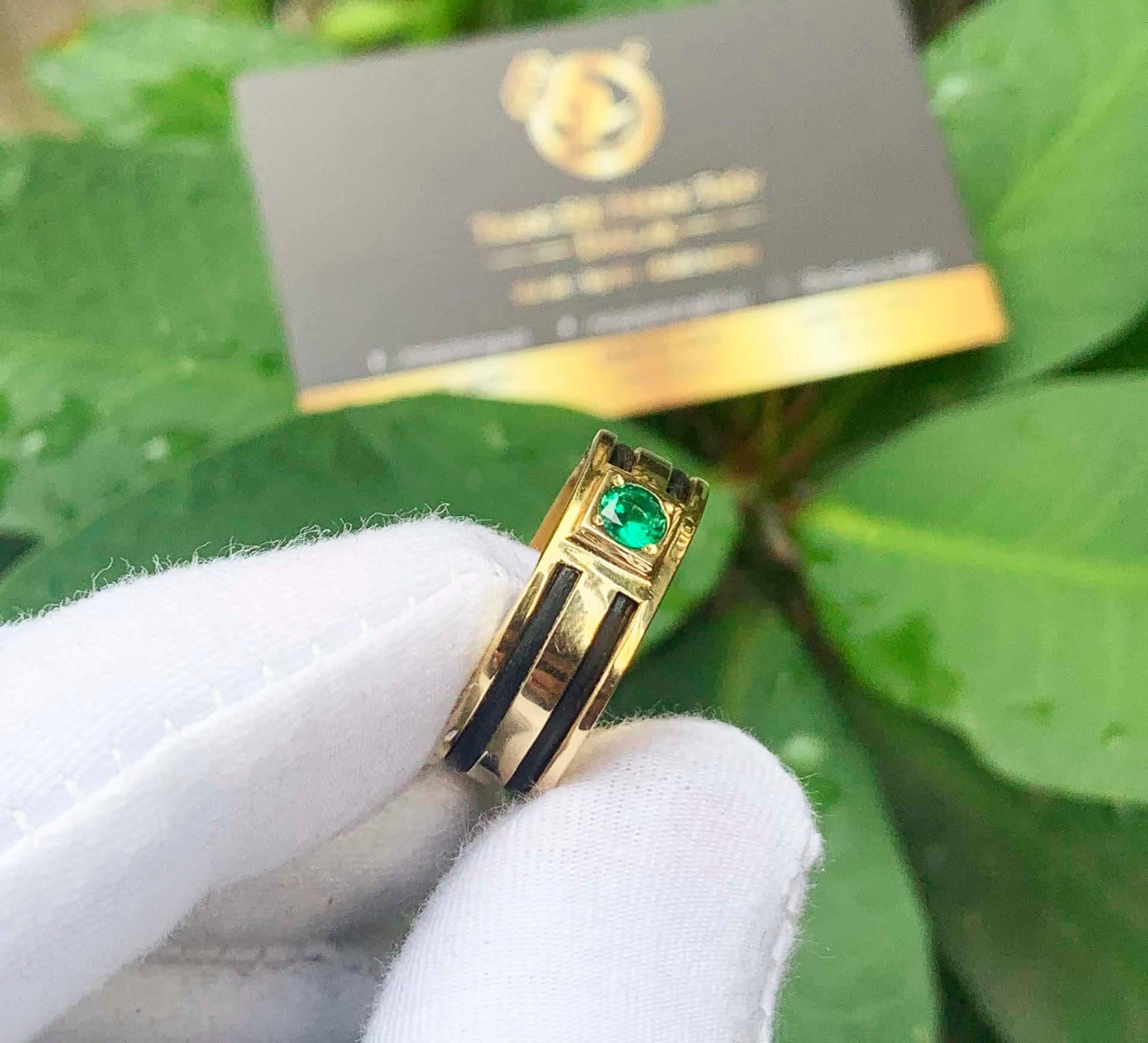 Nhẫn lông voi 2 sợi làm tay đính Cz xanh lá tròn chậu vuông thiết kế đơn giản