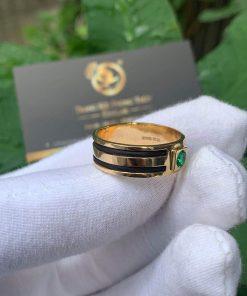 Nhẫn lông voi 2 sợi làm tay đính Cz xanh lá tròn chậu vuông siêu chất
