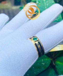 Nhẫn lông voi 2 sợi làm tay đính Cz xanh lá tròn chậu vuông hỗ trợ khắc tên