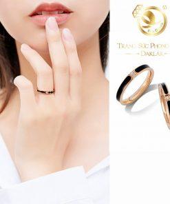 nhẫn lông voi mini làm tay đính đá Cz trắng 1 sợi lông voi Riogems