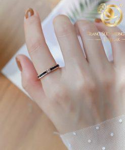 nhẫn lông voi mini làm tay đính đá Cz trắng 1 sợi lông