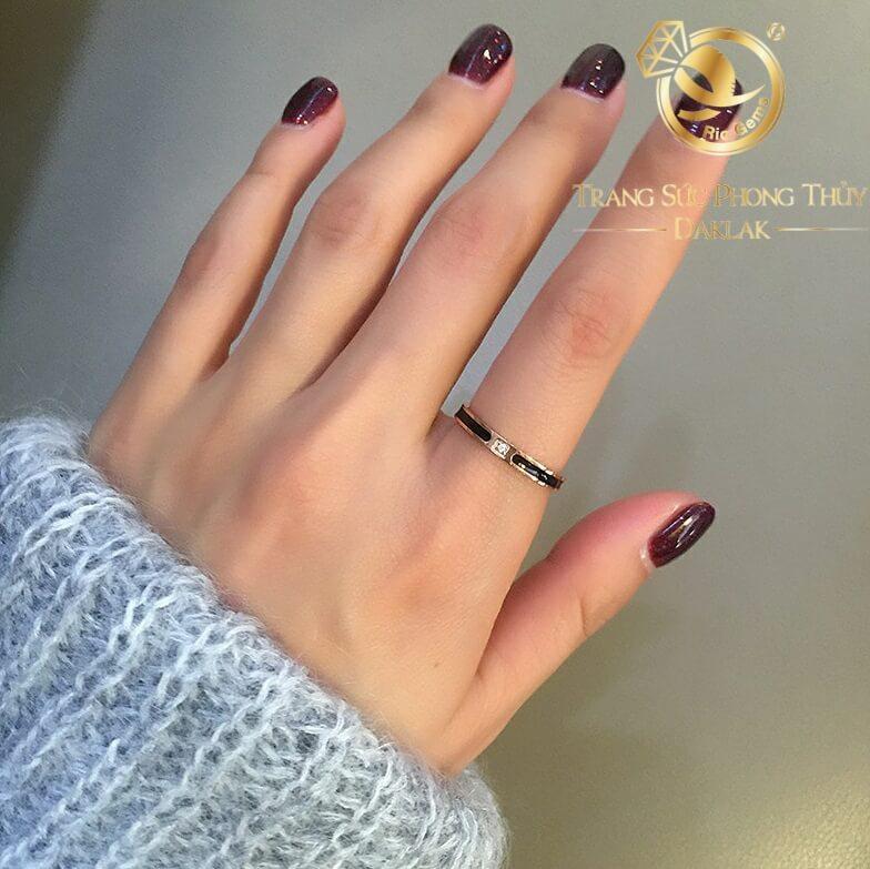 nhẫn lông voi mini làm tay đính đá Cz trắng 1 sợi lông voi