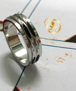 Nhẫn nam vàng trắng 2 viền 2 sợi song song gia công cẩn thận