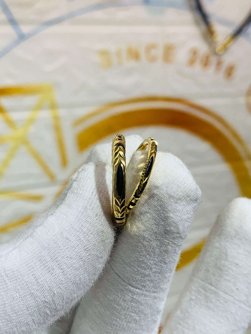 Nhẫn nam nữ luồng 1 lông voi vàng Tây 18K (Lông FAKE) giá trị