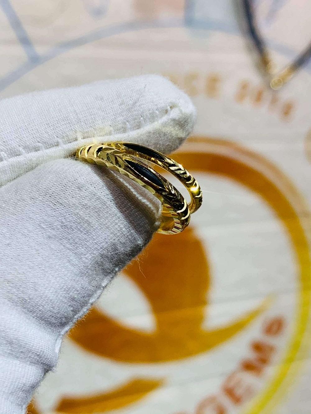 Nhẫn nam nữ luồng 1 lông voi vàng Tây 18K (Lông FAKE)