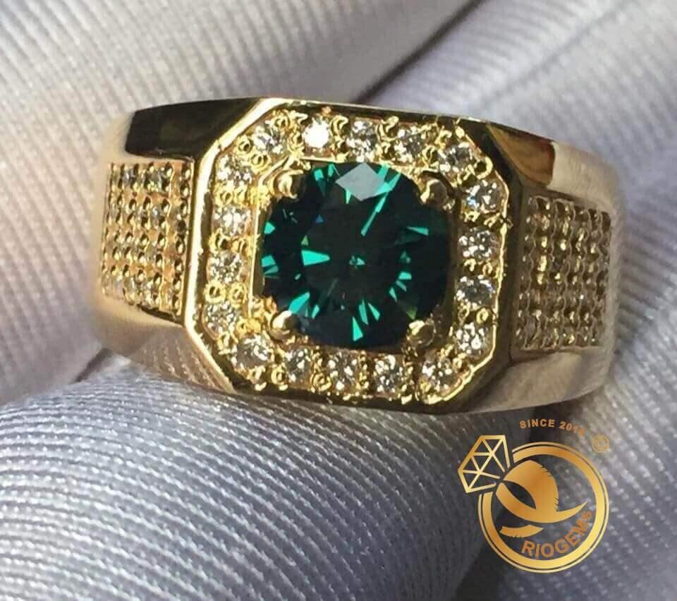 Nhẫn nam vang đính Ngọc lục bảo Emerald mang lại may mắn