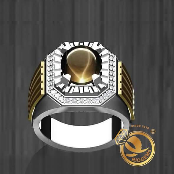 Nhẫn nam vàng mặt đá Mắt Hổ hợp mệnh được bảo hành trọn đời