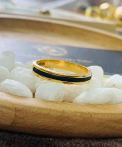 Nhẫn nữ vàng đeo ngón trỏ luồng 1 sợi lông voi thiết kế đơn giản