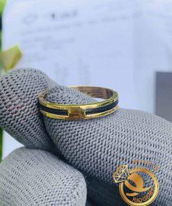 Nhẫn nữ vàng đeo ngón trỏ luồng 1 sợi lông voi phong thủy