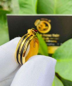 Nhẫn thỏi vàng mặt đá Garnet luồng 2 sợi lông voi đường nét đơn giản