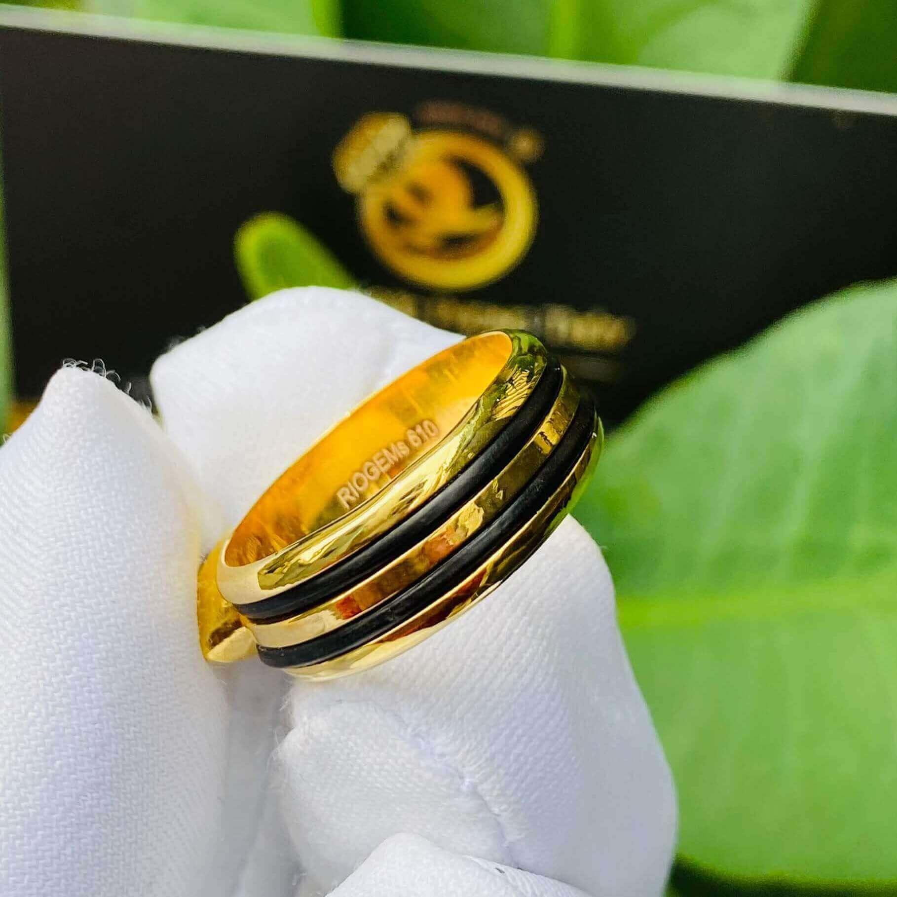 Nhẫn thỏi vàng mặt đá Garnet luồng 2 sợi lông voi đường nét siêu chất