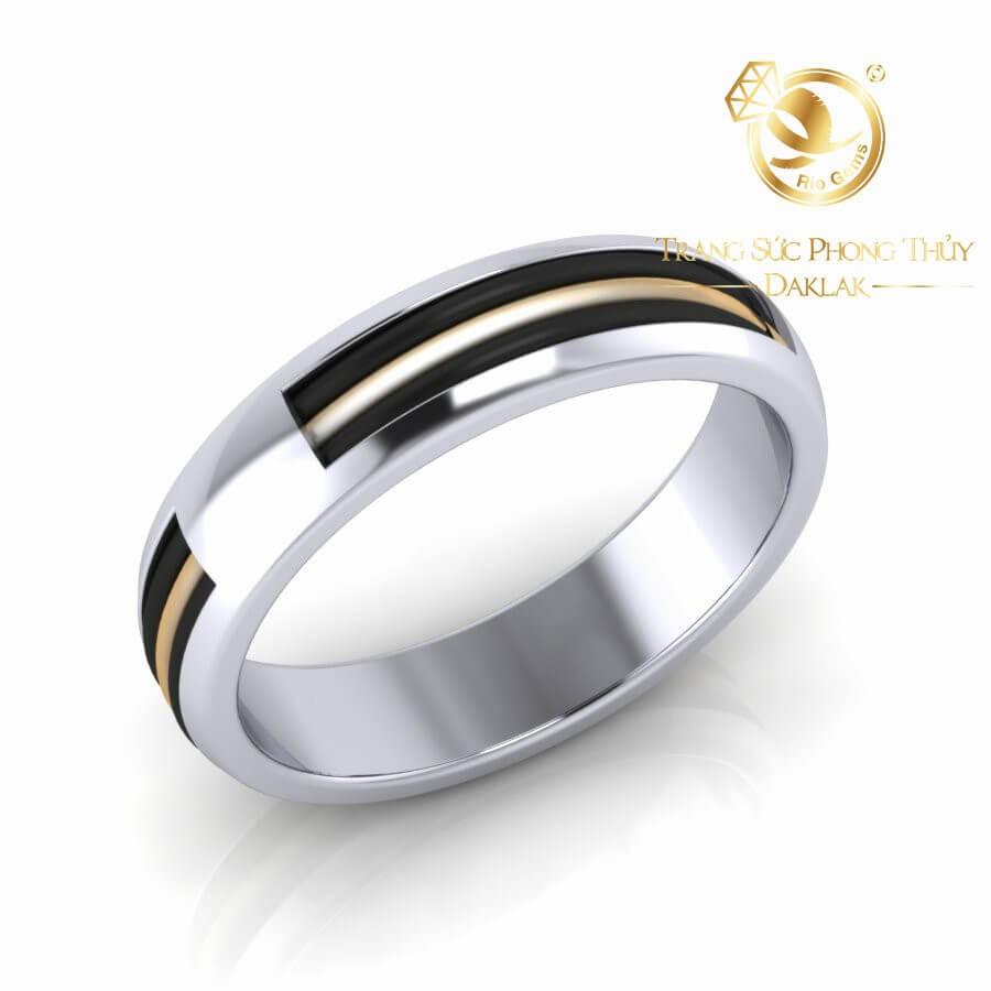 Nhẫn vàng Trắng luồng lông voi trắng – đen Thái Lan Riogems