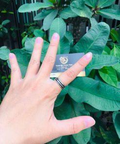 Nhẫn vàng Trắng luồng lông voi trắng – đen Thái Lan hỗ trợ khắc tên
