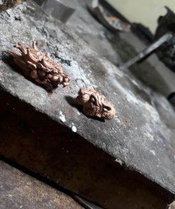 Dây chuyền da cá đuối bọc 2 đầu RỒNG - CỌP vàng đúc nguyên khối