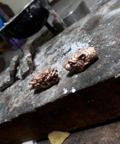 Dây chuyền da cá đuối bọc 2 đầu RỒNG - CỌP vàng nguyên khối