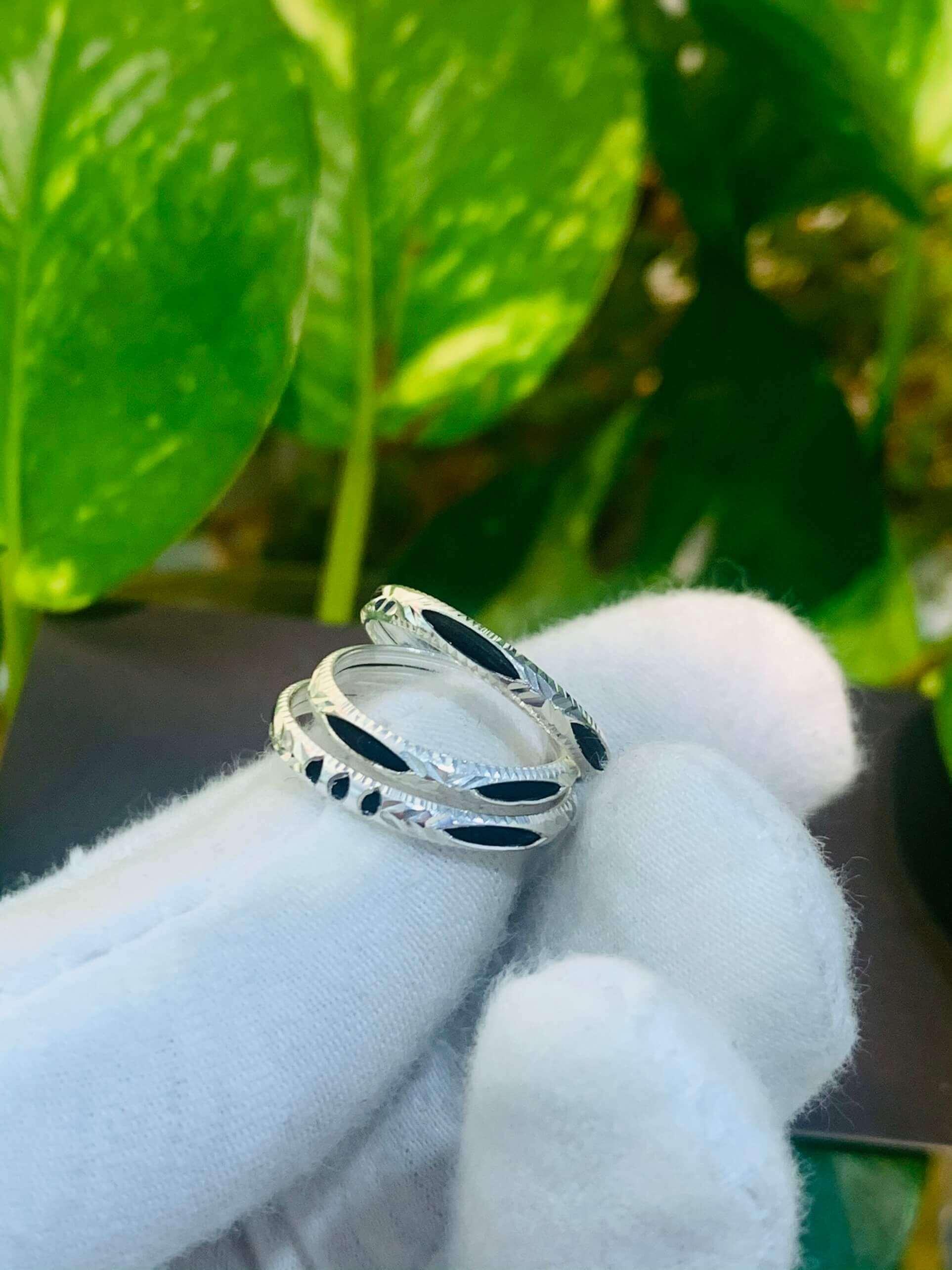 Nhẫn lông voi bạc 1 sợi đơn giản