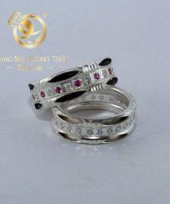 Cặp nhẫn bạc lông voi đính đá dành cho các cặp đôi